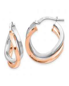 Two Tone Hoop Earrings Rose gold Tone and Silver 23mm Round Hoop Earrings for Her