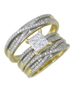 10K Solid Yellow Gold Diamond Wedding Ring Band Set 0.76 Ctw