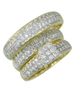 10K Solid Yellow Gold His and Her Diamond Wedding Ring Band Set 1.29 Ctw