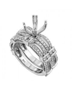 1 Carat Diamond Semi-Mount Invisible Set in 14k White Gold