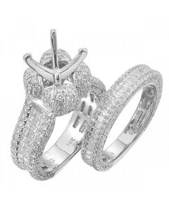 4.93 ct Ladies Diamond Semi Mount Ladies Bridals Ring in 14kt White Gold