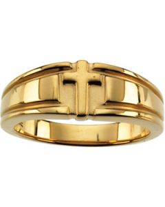 Cross Duo Band Sterling Silver  Gents Cross Duo Band