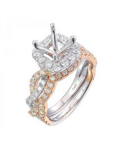 14K Semi Mount Criss Cross Bridal Ring -1.35 cttw