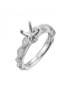 White Gold 3/4ct Fancy Diamond Semi Mount Engagement Ring