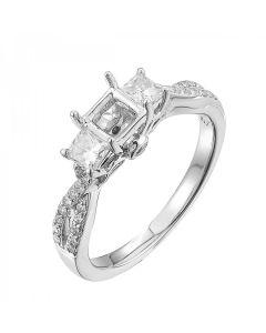 0.52CT White Gold Ladies Square Semi-Mount with 14k Princess cut Diamond
