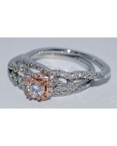 WHITE GOLD WEDDING SET ENGAGEMENT RING + MATCHING BAND 0.7CT 14K GOLD VINTAGE