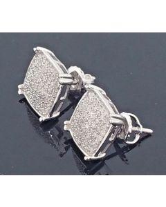 0.31ct Diamond Stud Earrings 10k White Gold Cushion Shape 10mm Wide Mens Or Womens Screw Back Earrings