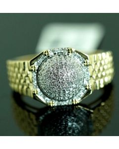 DIAMOND RING REAL GOLD MENS GUYS 0.25CT 10K GOLD ROUND SHAPED DOMED AUTHENTIC