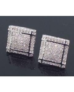 Real Diamond Earrings White Gold 0.28ct 10K White Gold Screw Back 10mm Square