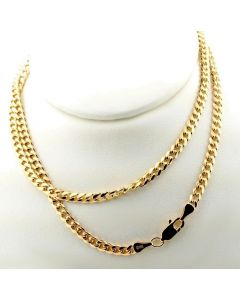 10K SOLID YELLOW GOLD 3.5MM WIDTH MIAMI CUBAN LINK CHAIN 18- 24