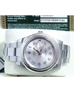 ROLEX 18KT White Gold, Stainless DateJust II SILVER Arabic 116334 & Box Papers