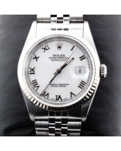 Rolex Watch DateJust 36mm Stainless Sapphire Crystal Mint White Roman Dial 16234