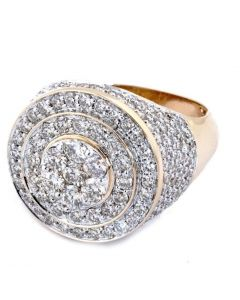 DIAMOND RING FOR MEN 4CT PINKY FASHION RING SOLID 14K GOLD ROUND 20MM XL