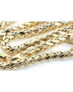 REAL GOLD CHAIN NECKLACE PALM CHAIN WHEAT CHAIN 10K GOLD MENS 5.5MM 24, 26,28,30