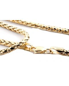 10K GOLD WHEAT CHAIN PALM CHAIN NECKLACE WOMENS MENS 2.5MM 18,20,22,24,26,28,30