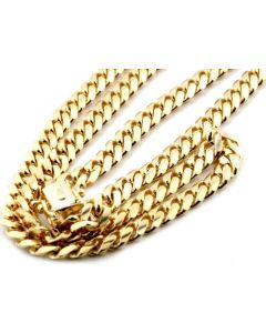 10K SOLID YELLOW GOLD 4MM WIDTH MIAMI CUBAN LINK CHAIN 20- 26