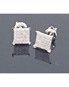 Princess Cut Style Diamond Stud Earrings 8mm Square Real 0.25ct 10K White Gold
