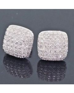Ice Cube Diamond Earrings Real 10K White Gold 0.37ctw 10mm Wide Screw Back Pave