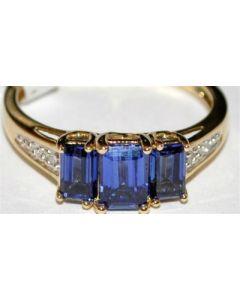 Womens Diamond Gemstone Blue Sapphire Ring Mothers