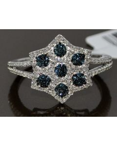 BLUE AND WHITE DIAMOND COCKTAIL RING RIGHT HAND CLUSTER 0.35CT STAR DAVID RING