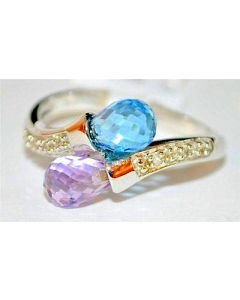 Diamond Anniversary Engagement Promise Ring 14K White Gold Blue and Pink Topaz