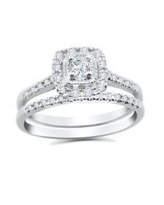 14K White Gold Halo Bridal Set 1/3ctw Natural Diamonds Round Center 2pc Set