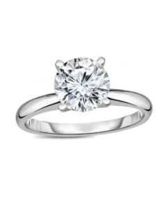 Midwest Jewellery Diamond Engagement Ring 1CT Round Solitaire VVS2 / I Tripple Excellent IGI Certified LAB Grown Diamond 14K White Gold