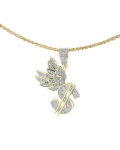10K Yellow Gold Dollar Charm Pendants Dollar Sign Wings With 0.31