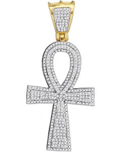 10kt Yellow Gold Mens Diamond Ankh Cross Charm Pendant 1-1/2 Cttw
