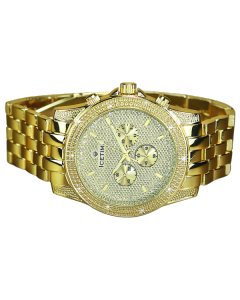 Mens Diamond Watch Ice Time Gold Tone Storm 48mm Diamond Cut Dial 0.10ctw Diamond