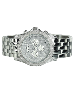 Mens Diamond Watch Ice Time Storm Silver 48mm Dial 0.10ctw Diamond Silver Dial