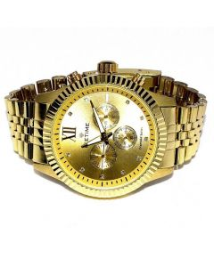 Diamond Watch for Men Ice Time Jubilee 0.10ctw Diamonds 44mm Dial Yellow